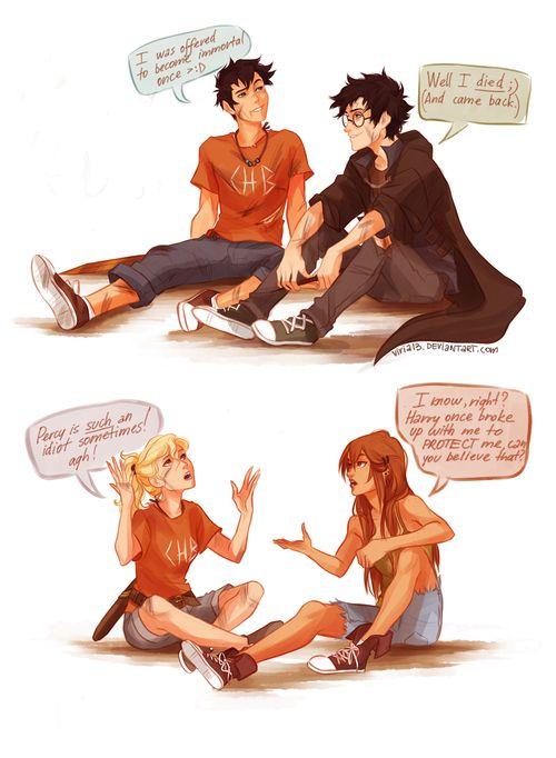 Harry Potter Percy Jackson Crossover Percy Jackson Percy Jackson Fan Art Percy Jackson Memes