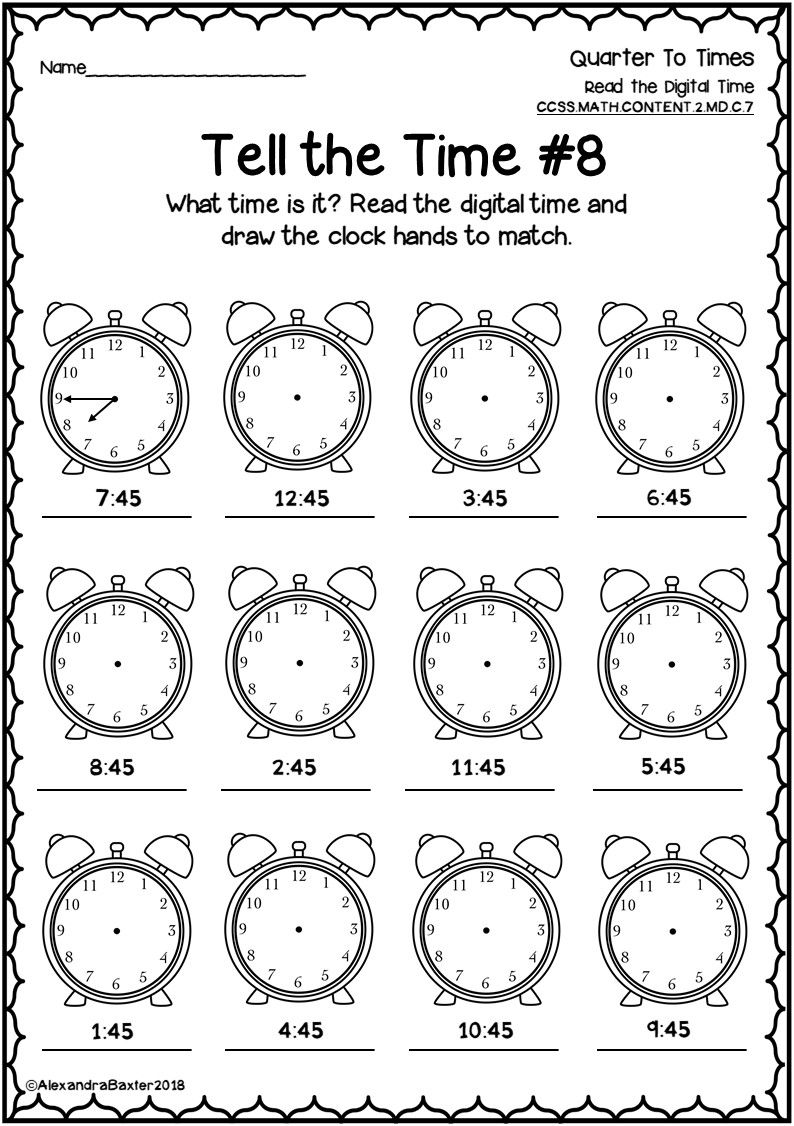 Time Worksheets and Assessment for Quarter Past/To (With