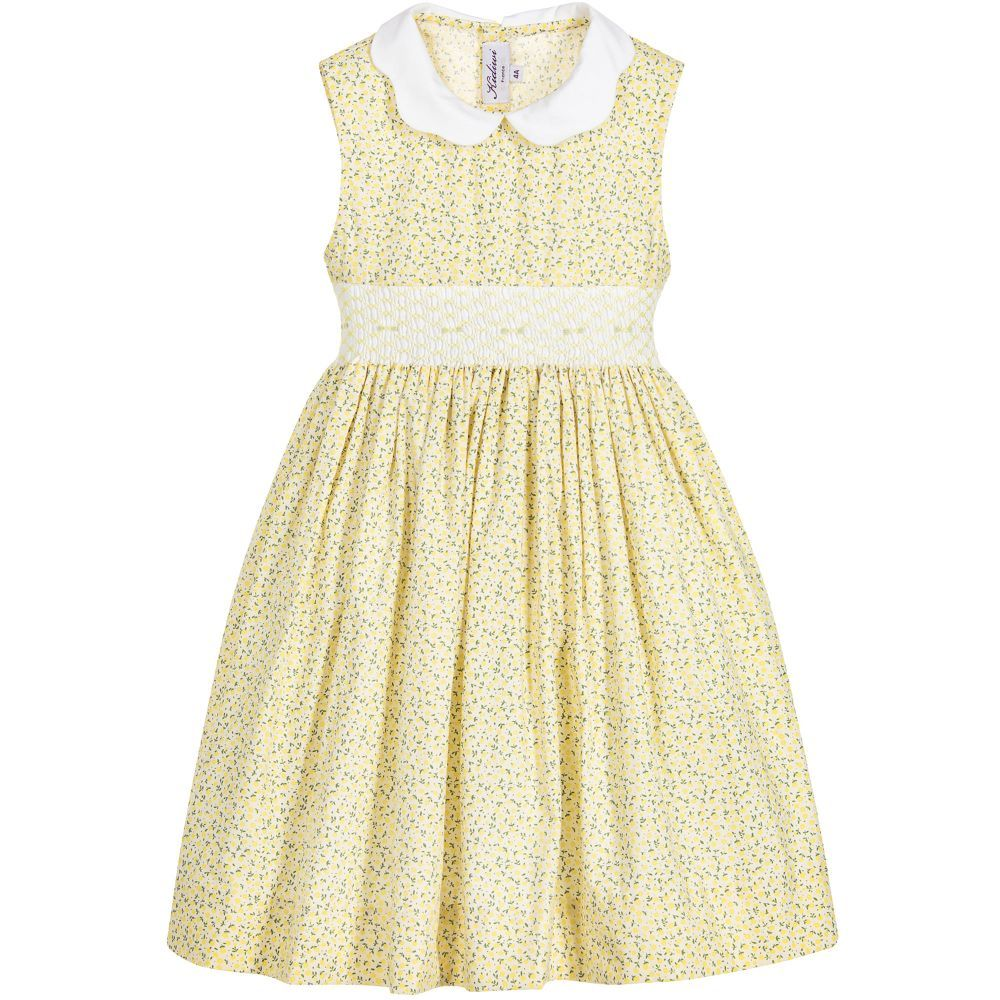 girls yellow hand smocked dress girls and stitch