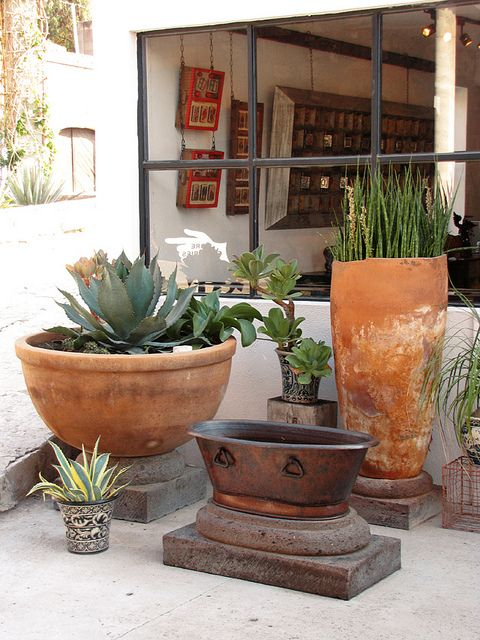 Like The Idea Of Stacking Pavers For Height Under Planters Container Gardening Pinterest