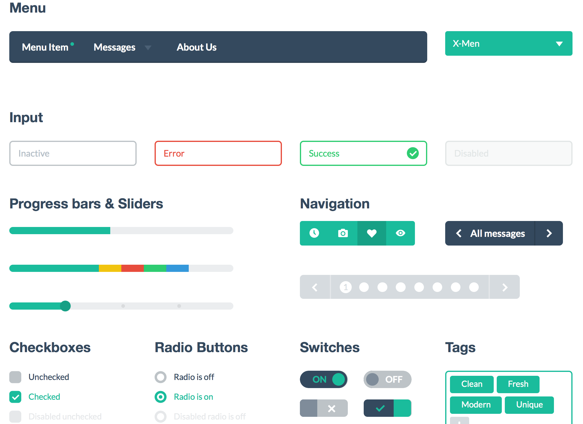 Example Flat Design Style Guide