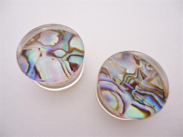 Abalone Shell Double Flare Plugs (6 gauge - 5/8 inch)