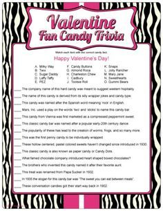 Name That Candy Bar Game Valentines Day Trivia