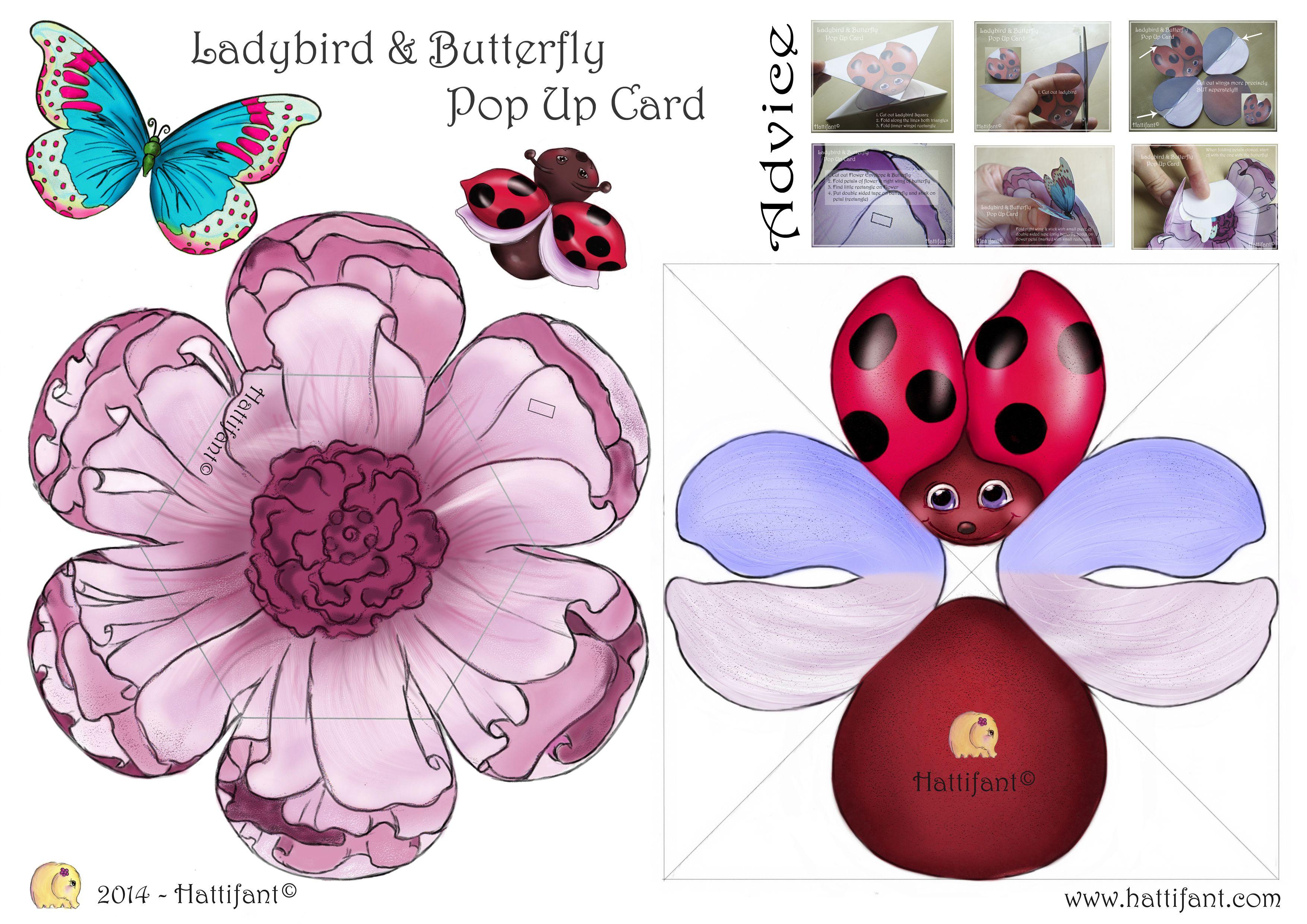 Epingle Par Cm A Partir De Hattifant Ladybird Templateinstructions Pop Up Card Templates Pop Up Cards Paper Pop