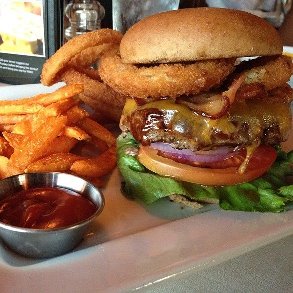 SMOKEHOUSE BURGER This burger at Ruby Tuesday has NY cheddar cheese, bacon, BBQ sauce and onion rings along with lettuce, tomato...