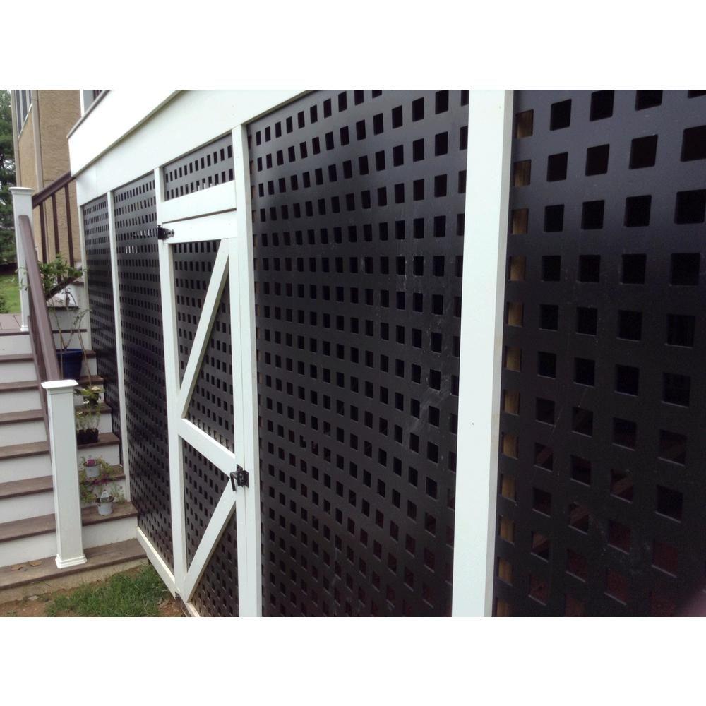 Acurio Latticeworks Square 32 In X 4 Ft Black Vinyl Decorative Screen Panel 3248pvcbk Sqr The Ho Gazebo Construction Vinyl Lattice Panels Decks And Porches