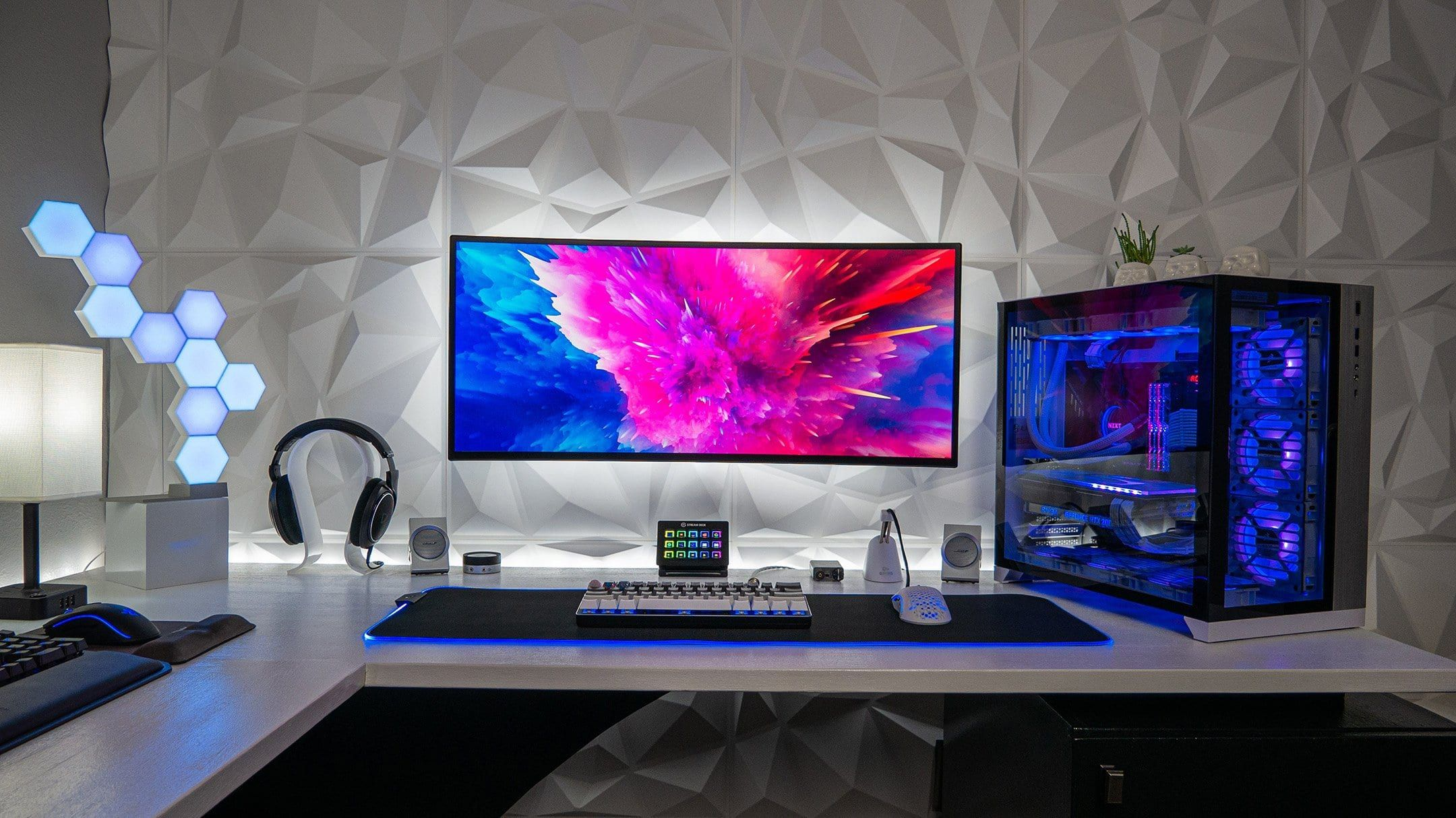 Love The 3d Wall Panel Textures Clean Desk Setup By Pc Battlestations Desk Setup Battlestation Bedroom Setup