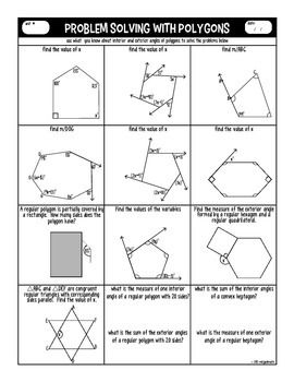 Polygons Graphic Organizer And Practice Interior And Exterior Angles Graphic Organizers Angles Worksheet