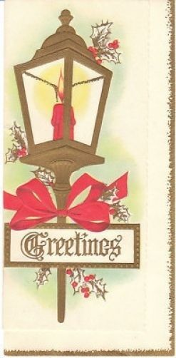 Vintage Christmas Card Street Lamp with Red Bow Slim 1950s Unused Made in USA