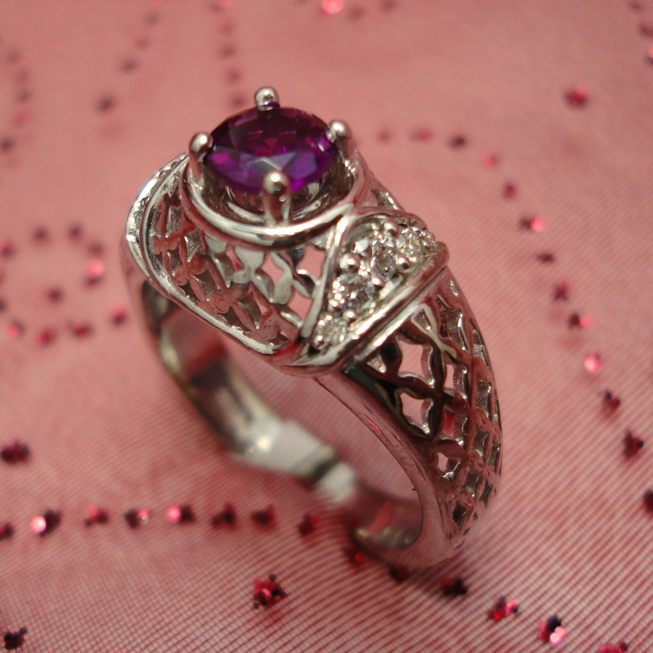 A Sterling Silver pieced ring design - with a beautiful Rubellite ...