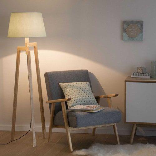 Dreibein-Stehlampe aus Holz Pastel H 150 cm