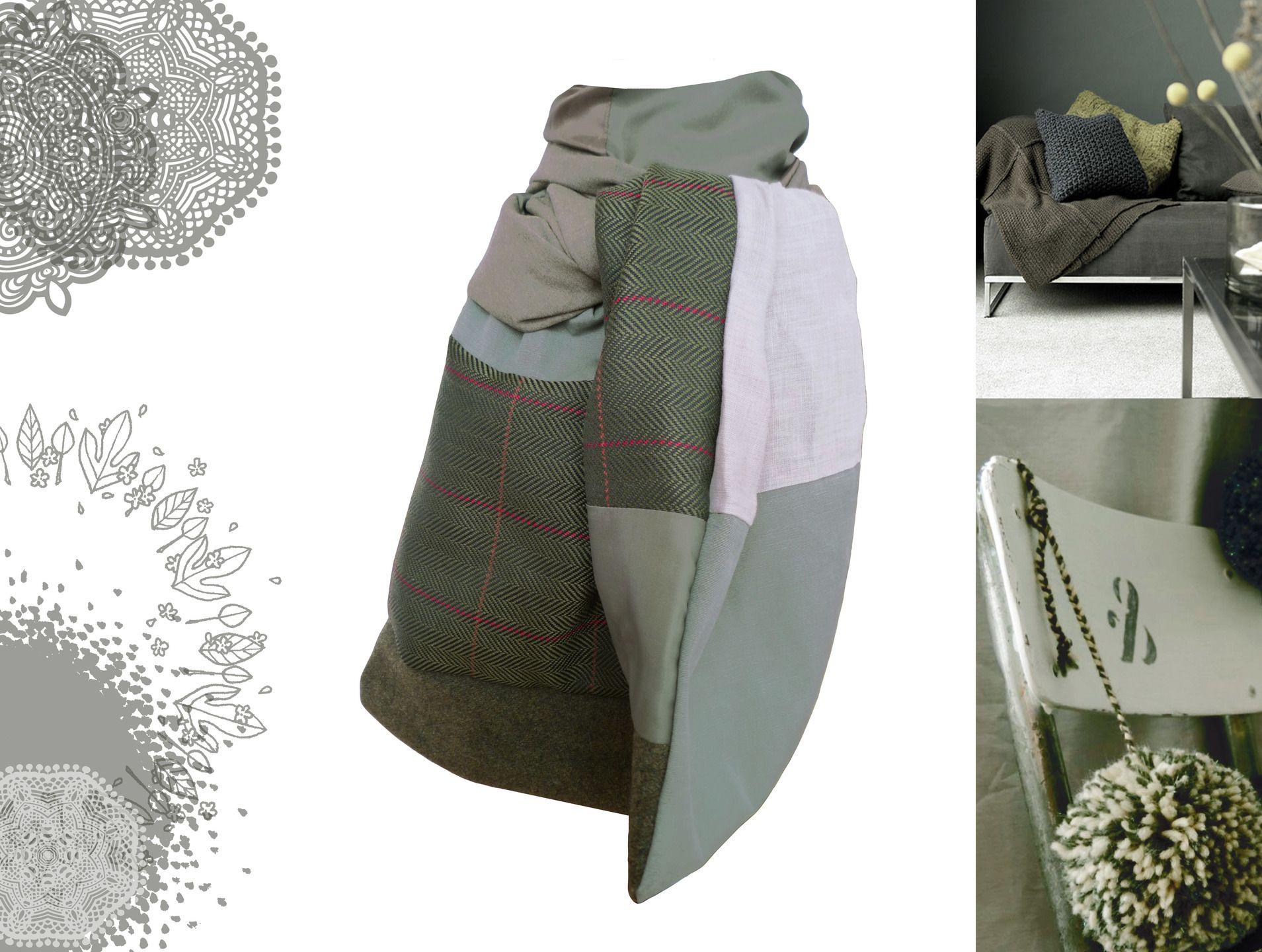 Echarpe foulard étole accessoires de mode pour homme kaki marron créateur modèle unique : Echarpes par lefil