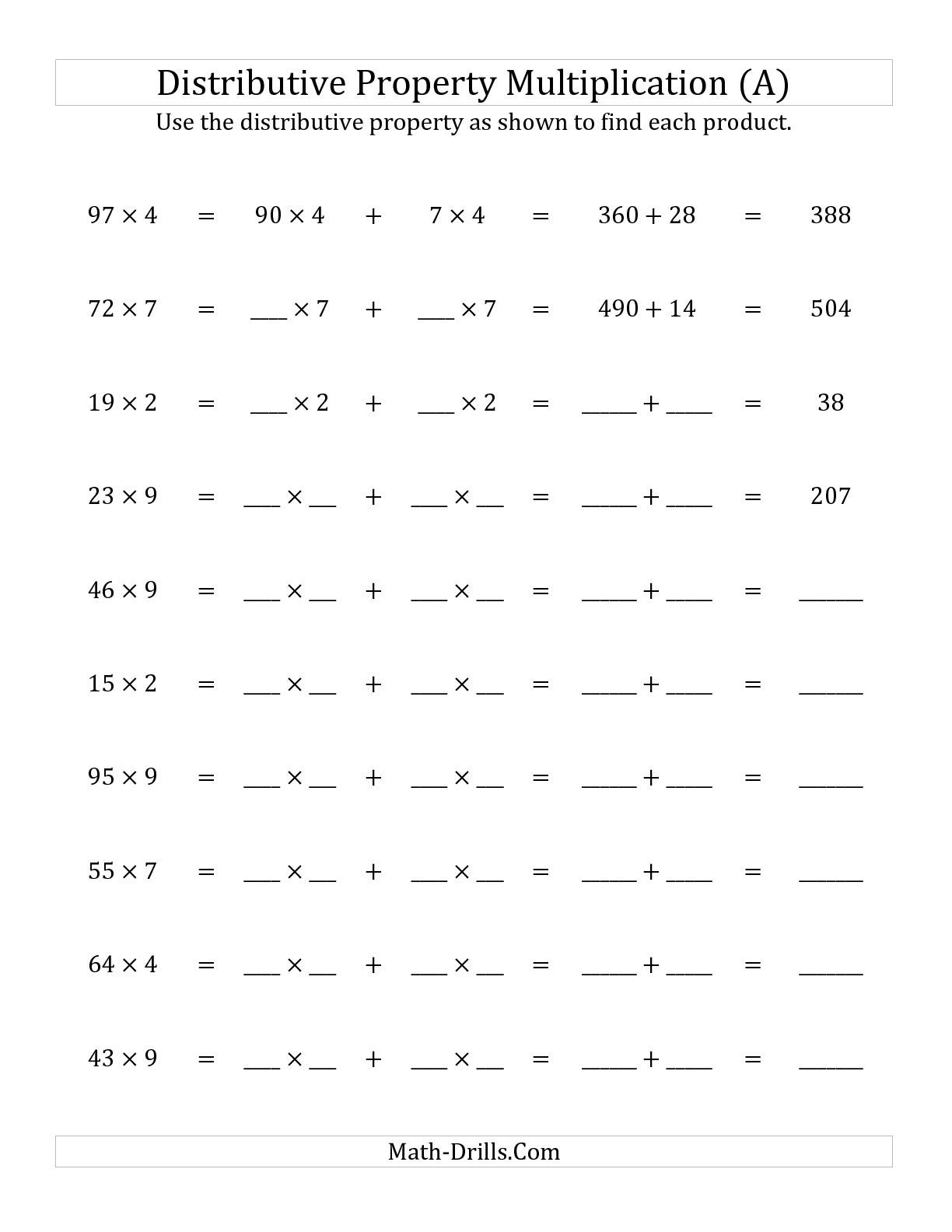 The Multiply 2 Digit By 1 Digit Numbers Using The Distributive Property All Math Worksheet