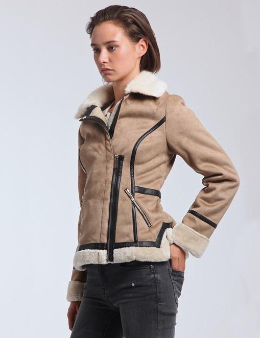 Manteau effet peau lainée et simili cuir   MORGAN   Fashion outfits ... e9bf61007b26