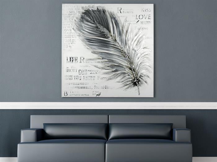 Gilde - FEATHER - Gemälde - Feder - Wohnzimmer Leinwand groß weiß - leinwand für wohnzimmer