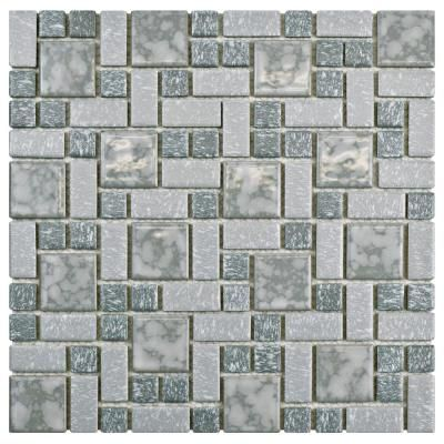 Merola Tile University Light Grey 11 3 4 In X 11 3 4 In X 5 Mm Porcelain Mosaic Tile 9 8 Sq Ft Case Light Grey And Grey Mixed Finish Mosaic Tiles Ceramic Floor Tiles Tiles