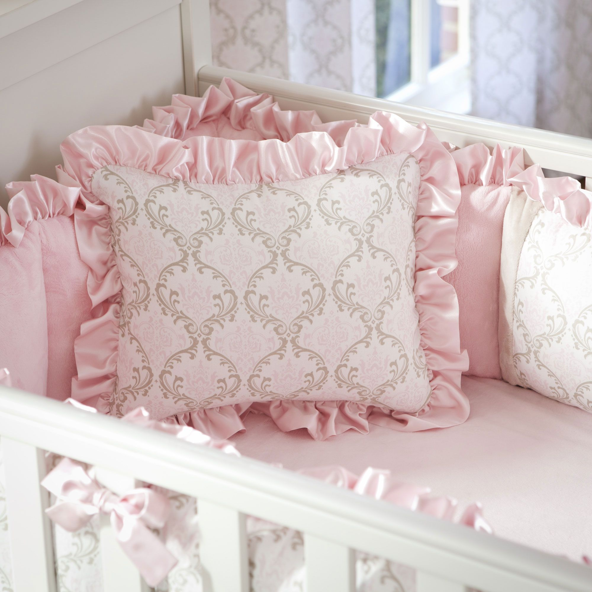 Pink And Taupe Damask Decorative Pillow Rectangular Made With Care In The Usa By Carousel Designs
