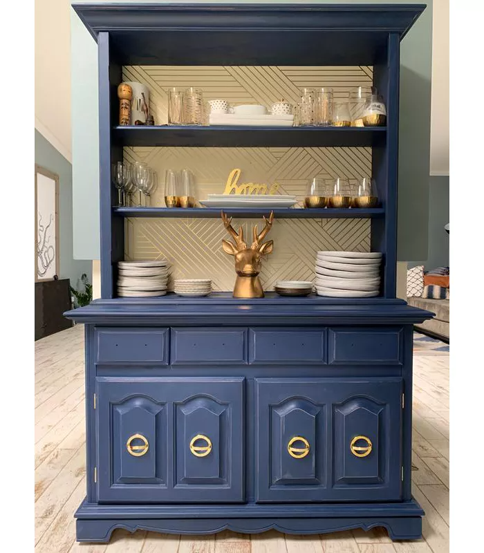 Metallic Ribbon Peel Stick Wallpaper Gold Ivory Project 62 In 2020 Painted China Cabinets Furniture Blue China Cabinet