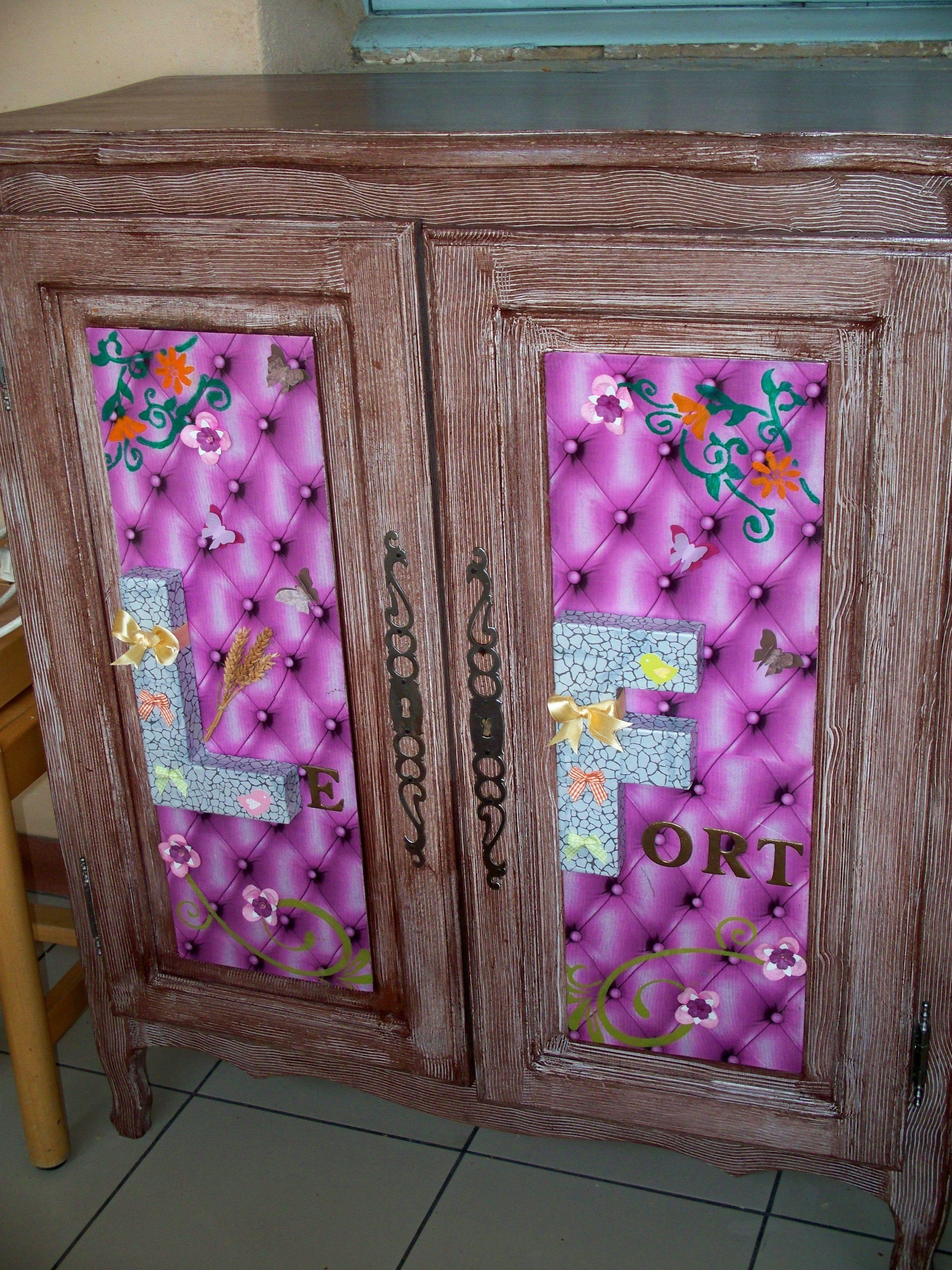 Meuble style louis philippe qui a t relook meuble for Meubles peints japonais