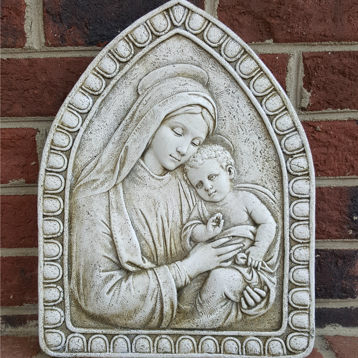 Mary and Christ Child Garden Plaque to hang in your home, garden, or porch.