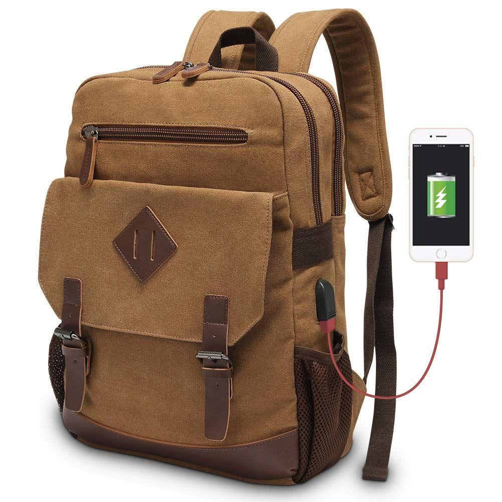 "15.6/"" Mens Canvas Laptop Backpack School Camping Rucksack Bag Satchel Pack"