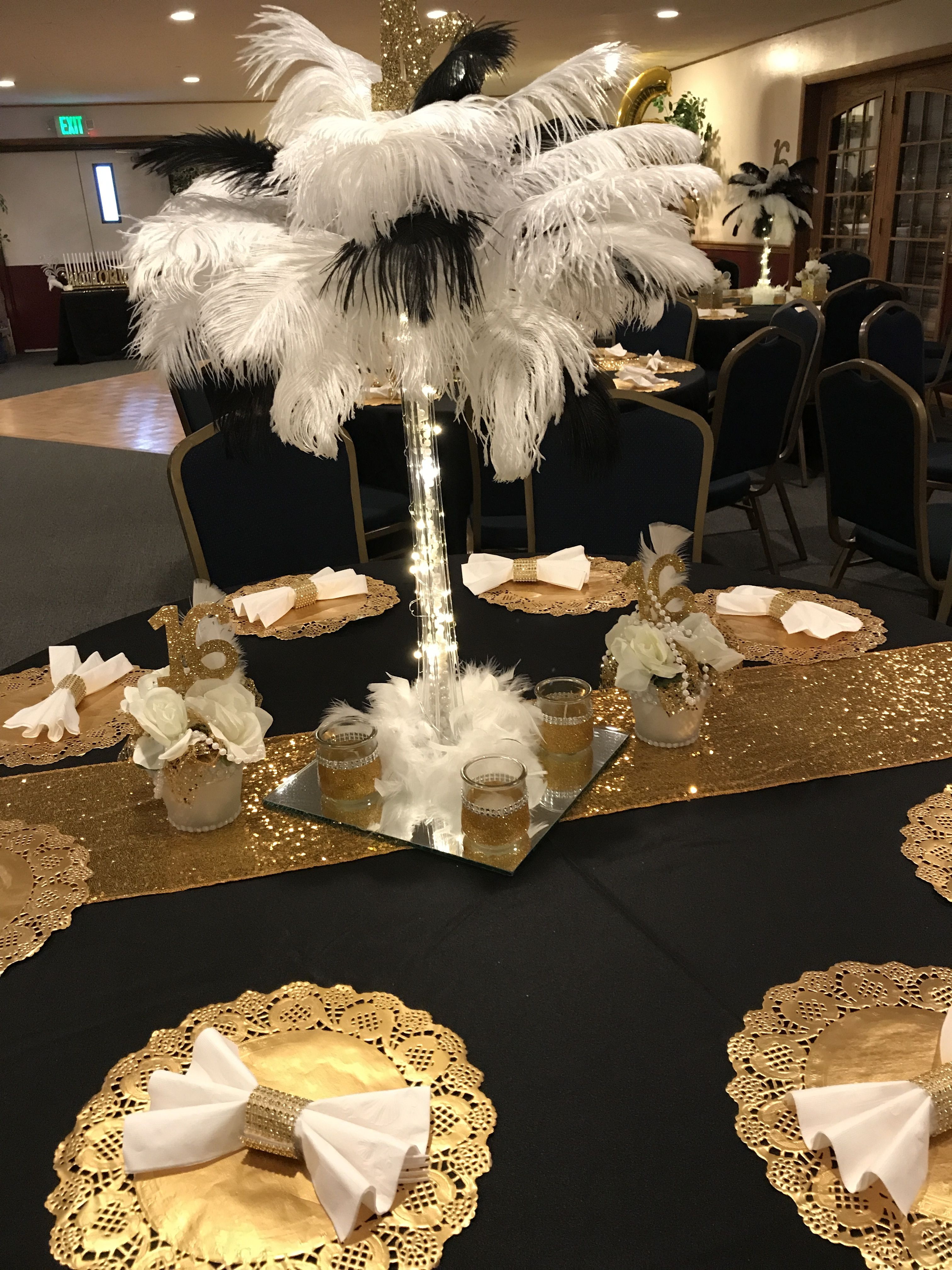 Great Gatsby Sweet 16 Birthday Party Decorations Black And Gold Ostrich Feathers Centerpieces Sweet 16 Centerpieces Sweet 16 Decorations Gatsby Sweet 16