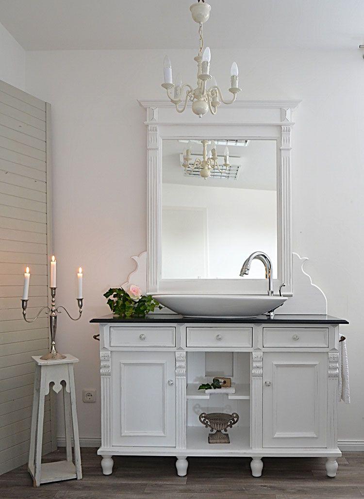 Bellemaison Grosser Landhaus Waschtisch Mit Spiegelaufsatz Von Badmobel Landhaus Land Un Shabby Chic Badezimmer Badezimmer Ideen Wohnung Badezimmereinrichtung