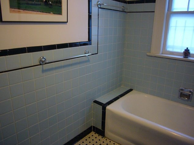 1940s Bathrooms Black And Blue Retro Vintage Tile Bathroom From
