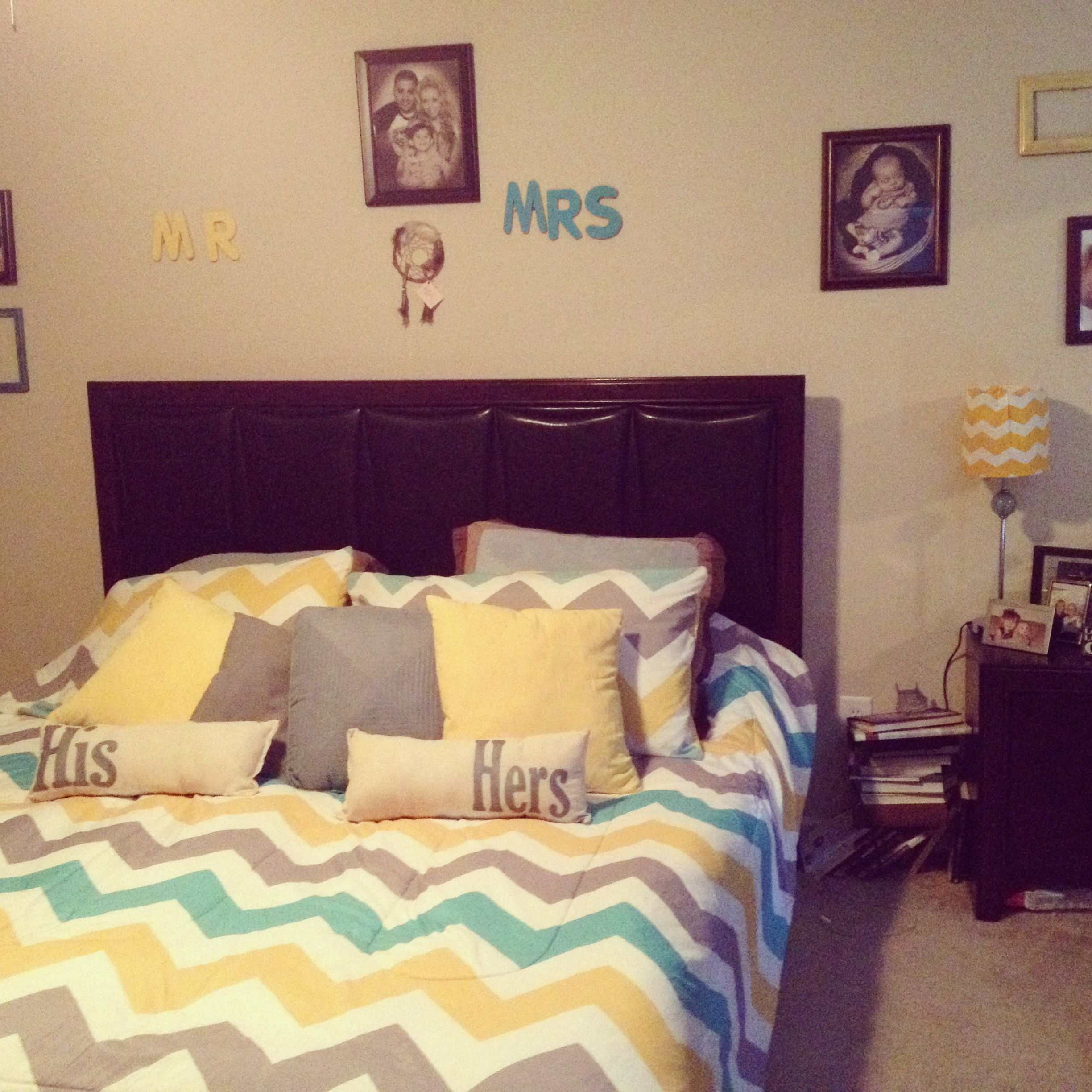 Bon Yellow, Gray, Teal Chevron Bedroom. Flores House.