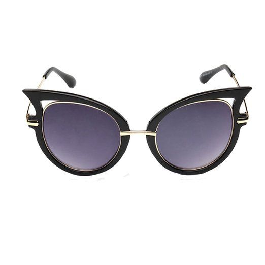 b8ec98eb13 Amazon.com: GAMT New Fashion Round Cateye Mirrored Sunglasses For Women  Classic Style Black Frame Blue-Green Lens: Clothing