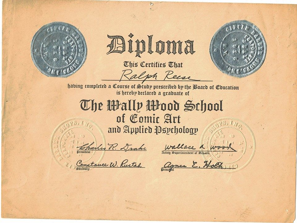 ralph reese s wally wood school of comic art and applied  ralph reese s wally wood school of comic art and applied psychology diploma
