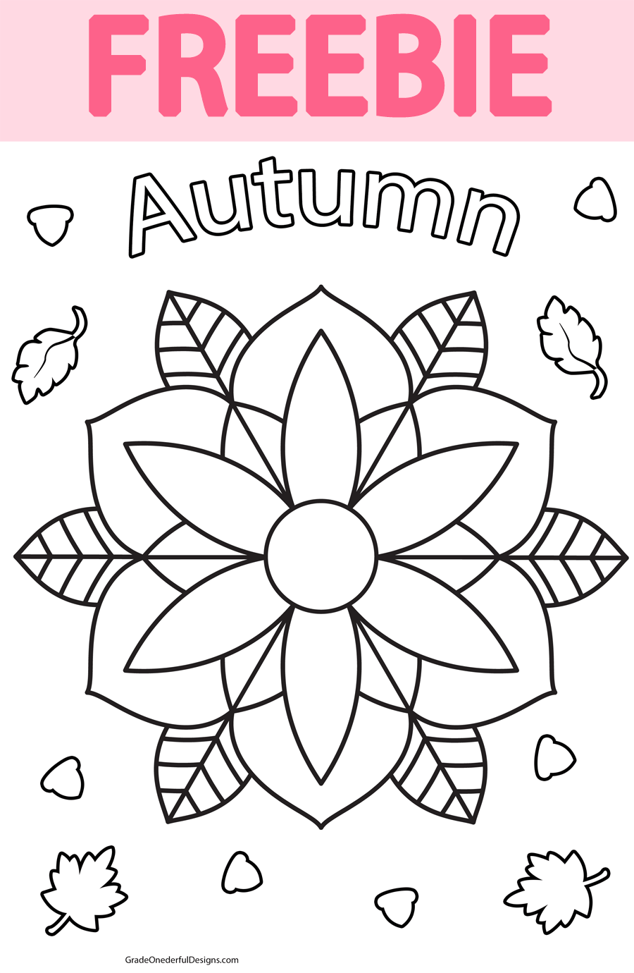 Grab this autumn mandala colouring page for your classroom or home