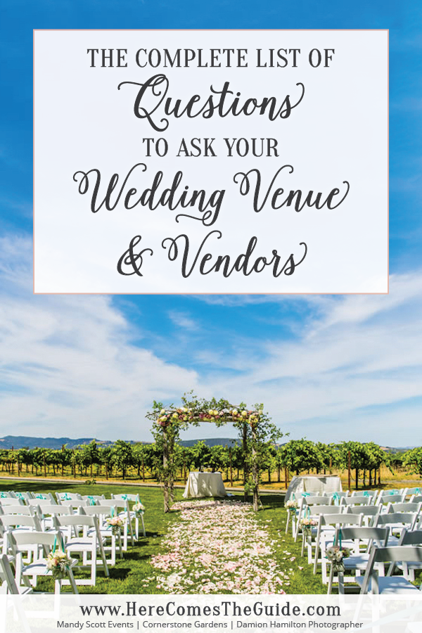 The Complete List of Questions to Ask your Wedding Venue and Vendors ...