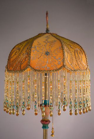 Victorian Lampshade With Antique Indian, Lamp Shades Antique Style