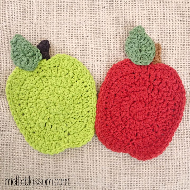 Free Pattern Crochet Apple Dishcloth | Kitchen Stuff | Pinterest