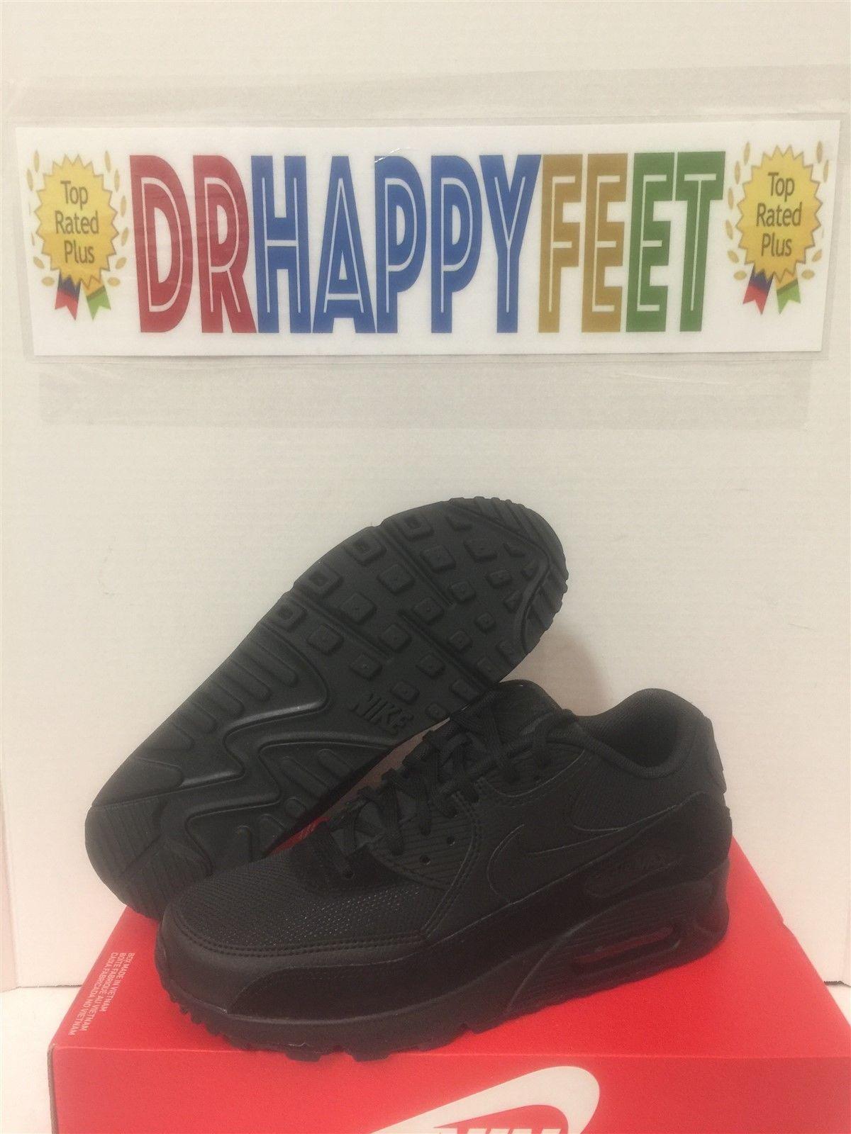 meet dae48 570a4 New Nike Air Max 90 Womens Sizes Running Shoes Triple Black Sneakers 325213  043