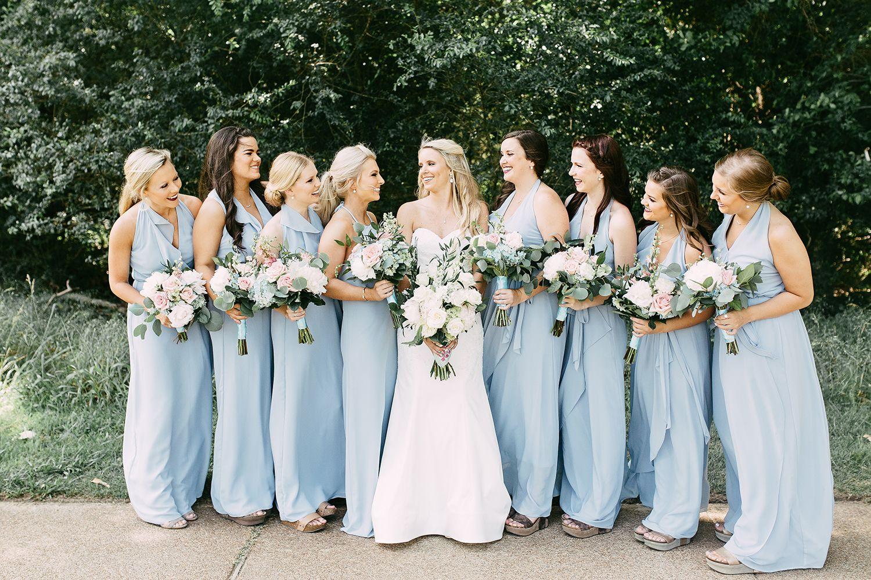 Baby Blue Bridesmaids Dresses At Outdoor Wedding At Spring Creek Ranch Kelly Ginn Photography The Pink Bride Pink Bride Bride Baby Blue Bridesmaid Dresses