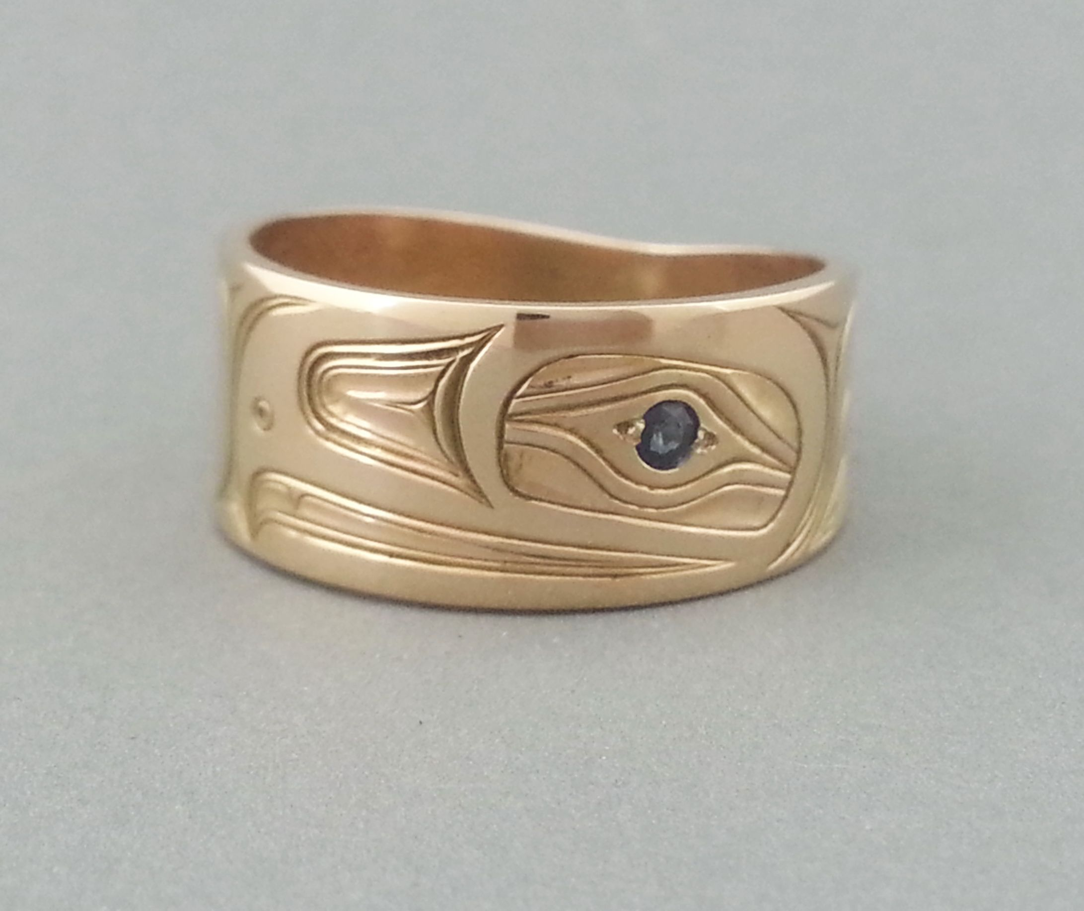 Eagle Ring, 14K gold & sapphire.   #northwestNativeIndianArtJewelry www.davidneel.com