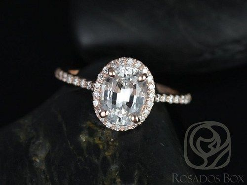 Rebecca 8x6mm 14kt RGold White Sapphire and Diamonds Engagement Ring