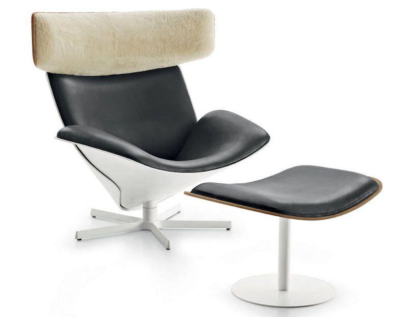 fauteuil relax design italien de style scandinave en cuir alu bois