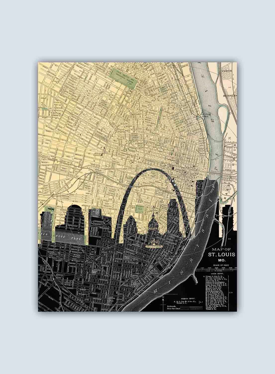 St Louis Skyline St Louis Map St Louis Art Print St Louis Wall