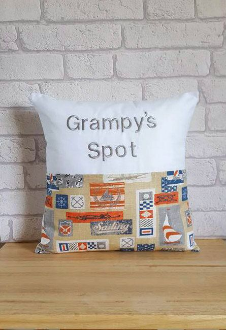 Grampys Pocket CushionPersonalised Pillow For GrampySailing CushionHome DecorGifts HimGifts Under 20Present Grandad By ElizaGraceUK On