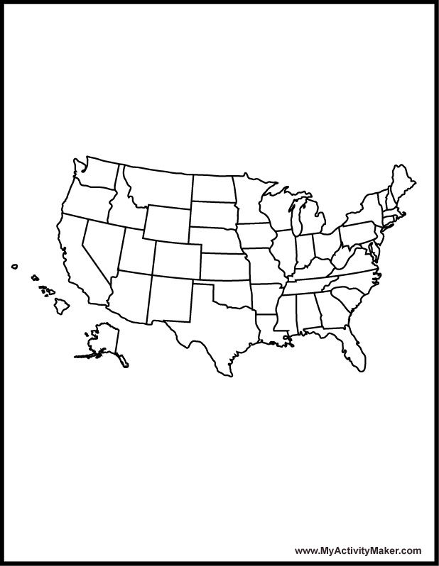 Myactivitymaker ColoringBook USA Map