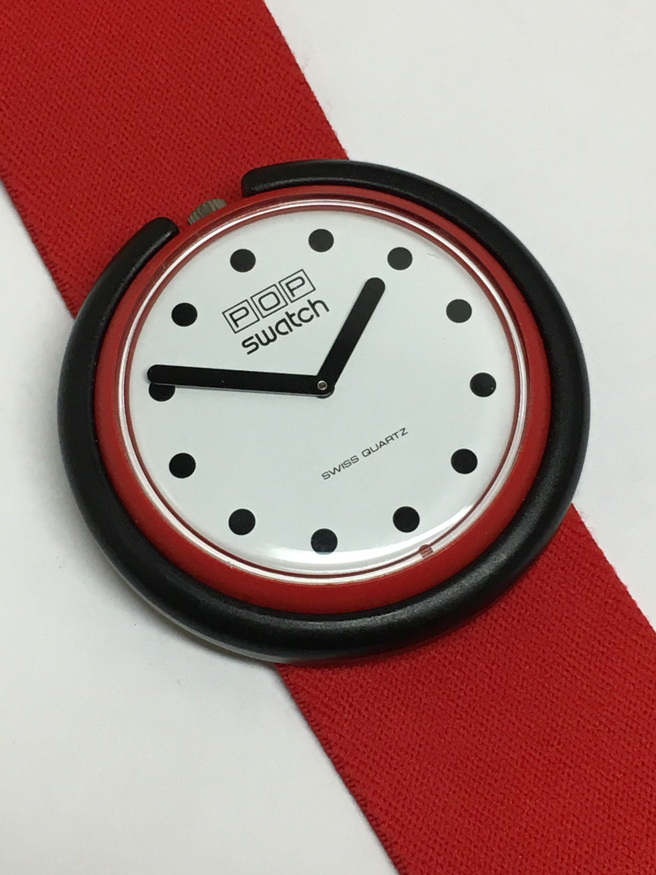Vintage Pop Swatch Watch Fire Signal Br001 1986 Red Elastic Band
