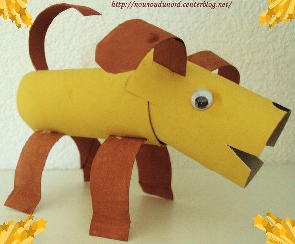 chien avec des rouleaux de papier wc, explications sur mon blog