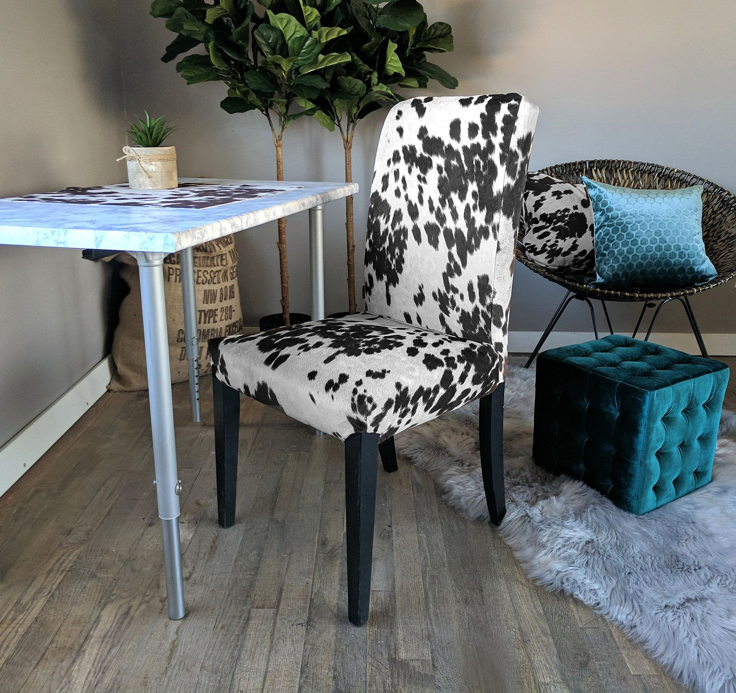 IKEA Dining Chair Cover, Cow Print, Cow Hide HENRIKSDAL