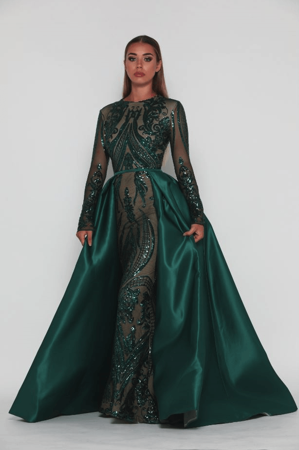 f729ed70ea6a Style 1705 Long Sleeve Gown in Emerald by Portia & Scarlett – Noodz Boutique