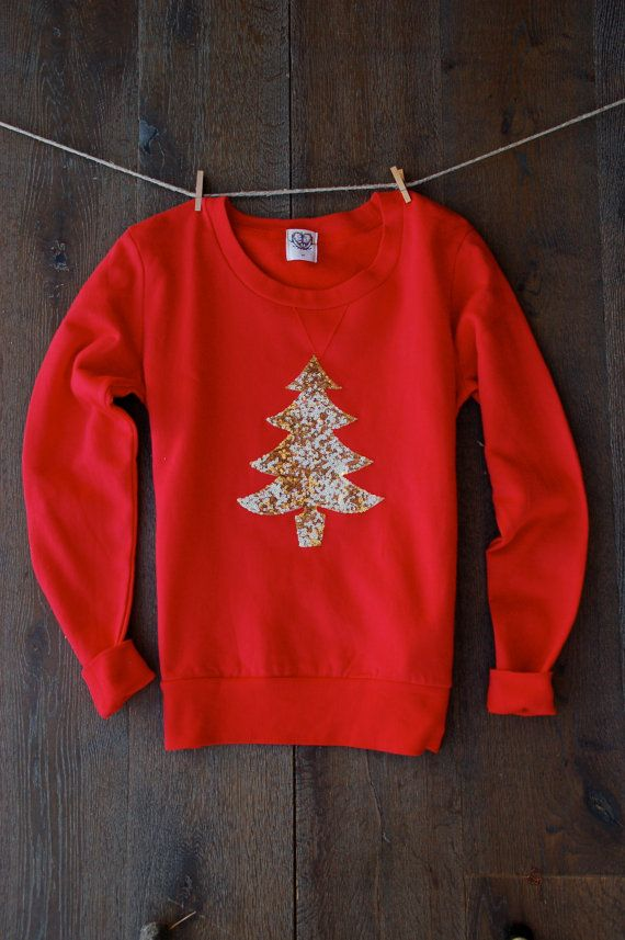 SALE Sequin Patch Christmas Sweatshirt Not Your Ugly Christmas Sweater Cute  Christmas Shirt for Women Teens Gift Her Christmas Tree Jumper