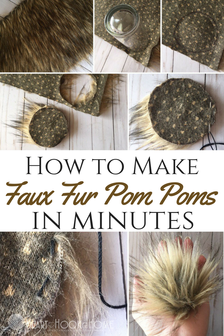673f44a3154 Faux fur pom poms only take a few minutes to make AND they make for the  cutest little