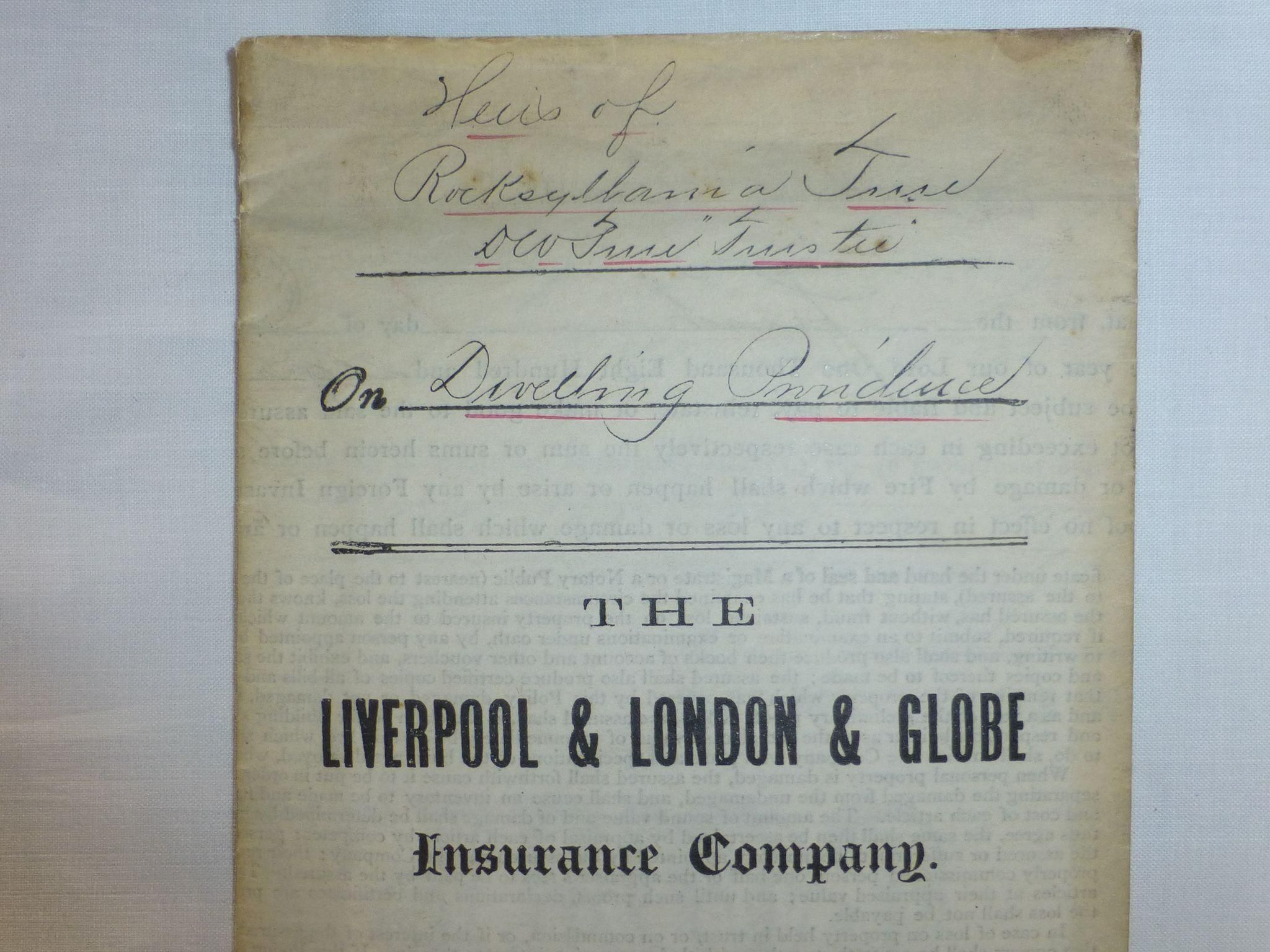 Antique Fire Insurance Policy, 1883, Liverpool & London & Globe ...
